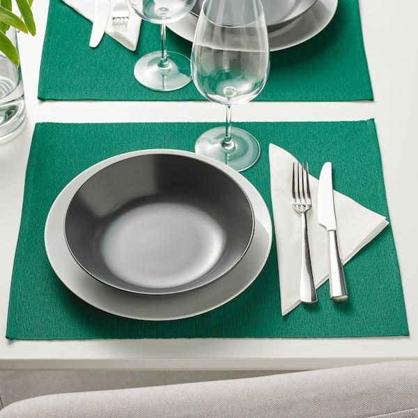 UTBYTT Place mat, dark green, 35x45 cm