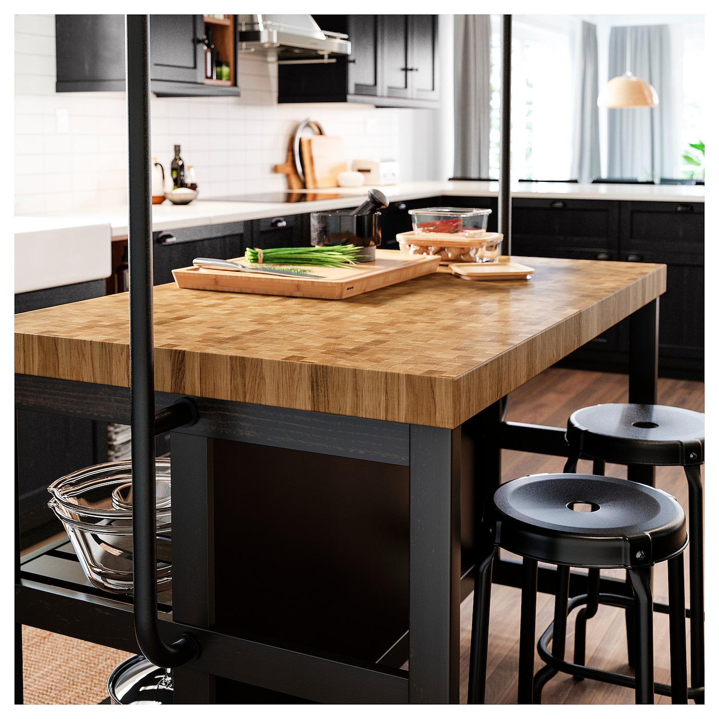 Vadholma Kitchen Island Black Oak Ikea