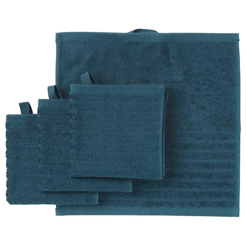 VÅGSJÖN washcloth dark blue 30 cm 30 cm 0.09 m² 400 g/m² 4 pieces
