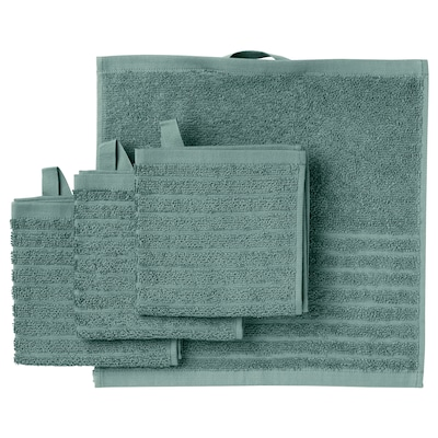 VÅGSJÖN Washcloth, grey-turquoise, 30x30 cm