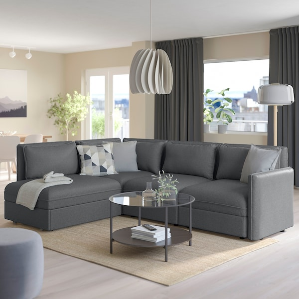 VALLENTUNA Modular corner sofa 3-seat+sofa-bed, and storage/Hillared dark grey