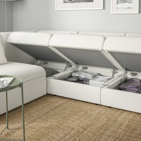 VALLENTUNA Modular corner sofa 3-seat+sofa-bed, and storage/Murum white