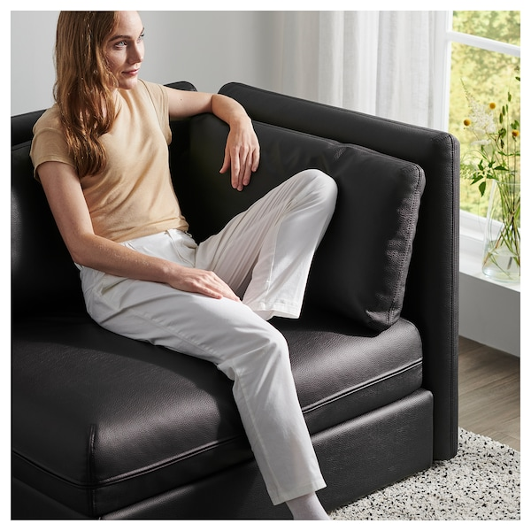 VALLENTUNA modular corner sofa 3-seat+sofa-bed and storage/Murum black 93 cm 84 cm 266 cm 193 cm 80 cm 45 cm 80 cm 200 cm
