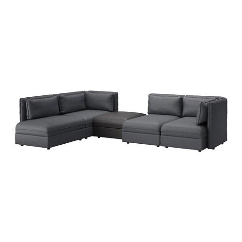 Divani Componibili Ikea.Vallentuna Modular Corner Sofa 4 Seat With Storage Hillared Murum Dark Grey Black