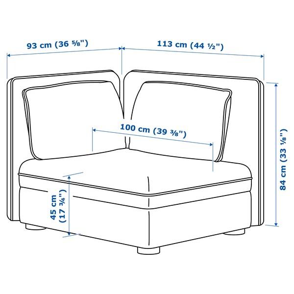 VALLENTUNA seat module with backrest Hillared dark grey 113 cm 93 cm 84 cm 80 cm 45 cm