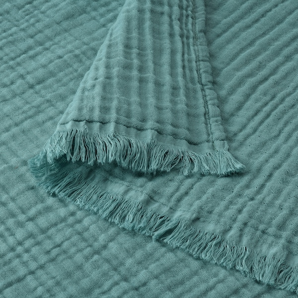 VALLKRASSING Throw, grey-turquoise, 150x200 cm
