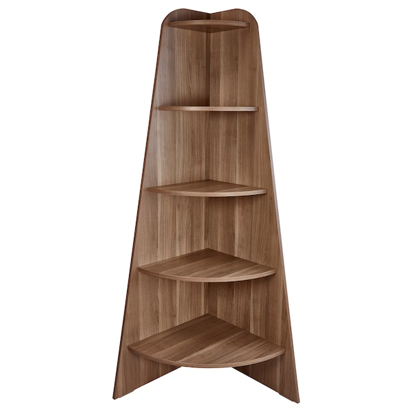 VARBY Corner shelf unit, grey/brown, 53x155 cm