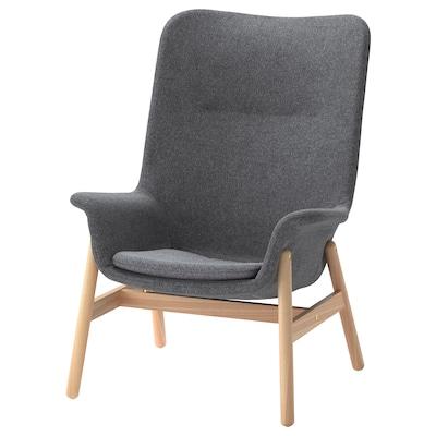 VEDBO High-back armchair, Gunnared dark grey