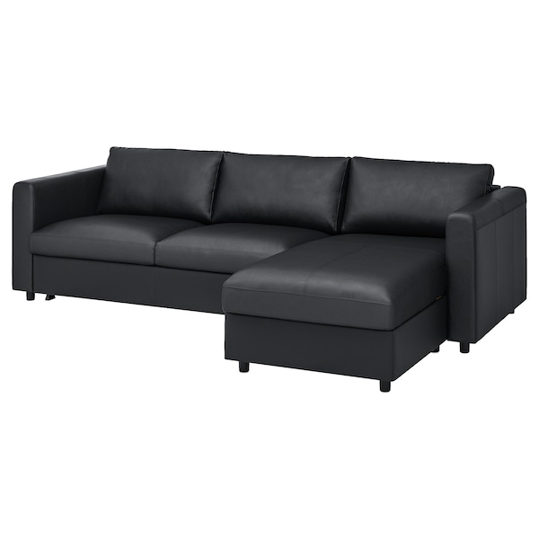 VIMLE 3-seat sofa-bed, with chaise longue/Grann/Bomstad black