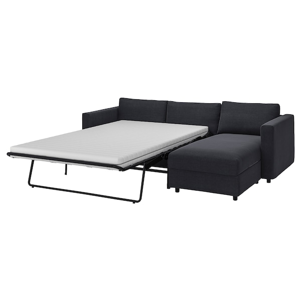 VIMLE 3-seat sofa-bed with chaise longue, Saxemara black-blue