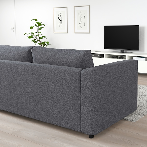 VIMLE 3-seat sofa, with open end/Gunnared medium grey
