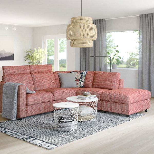 VIMLE Corner sofa, 4-seat, with open end with headrests/Dalstorp multicolour
