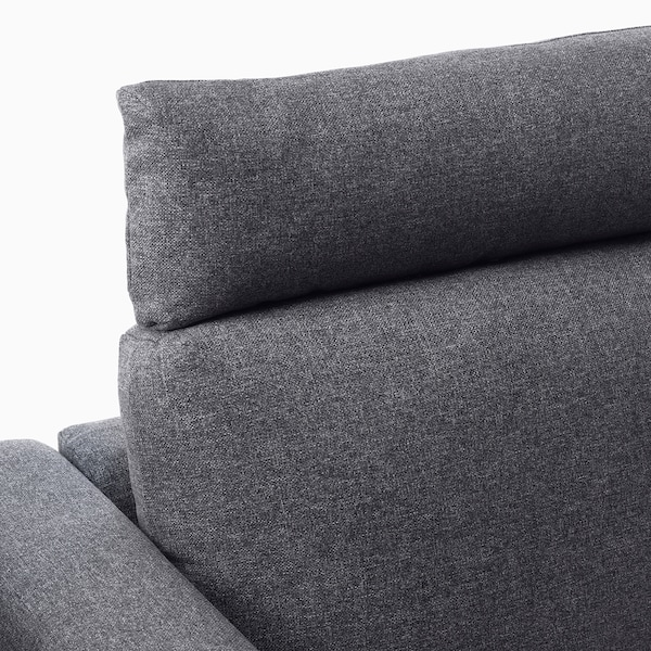 VIMLE Corner sofa, 4-seat, with open end with headrests/Gunnared medium grey