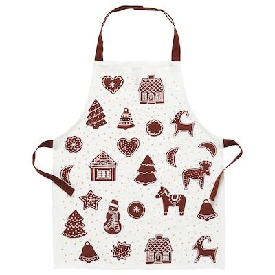 VINTER 2020 Children's apron, gingerbread pattern white/brown, 4-7