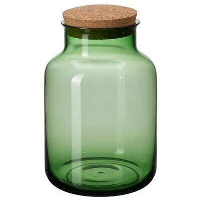 VINTER 2021 Jar with lid, green/cork, 2.5 l