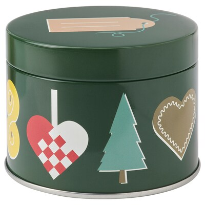 VINTER 2021 Tin with lid, Christmas pattern multicolour