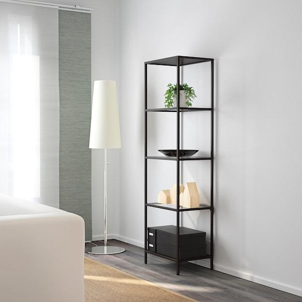 VITTSJÖ Shelving unit, black-brown/glass, 51x175 cm