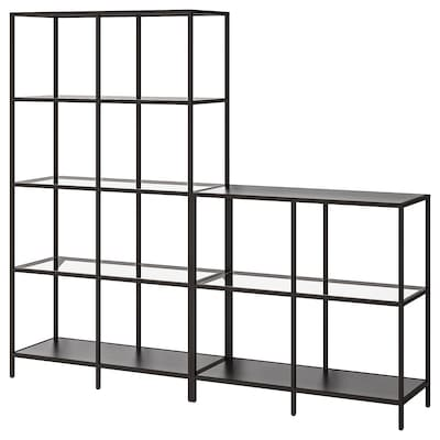 VITTSJÖ Storage combination, black-brown/glass, 200x36x175 cm