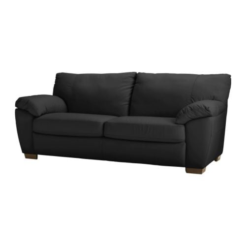 VRETA Three-seat sofa   Seat surfaces in soft, hardwearing, easy care grain leather; practical for families with children.