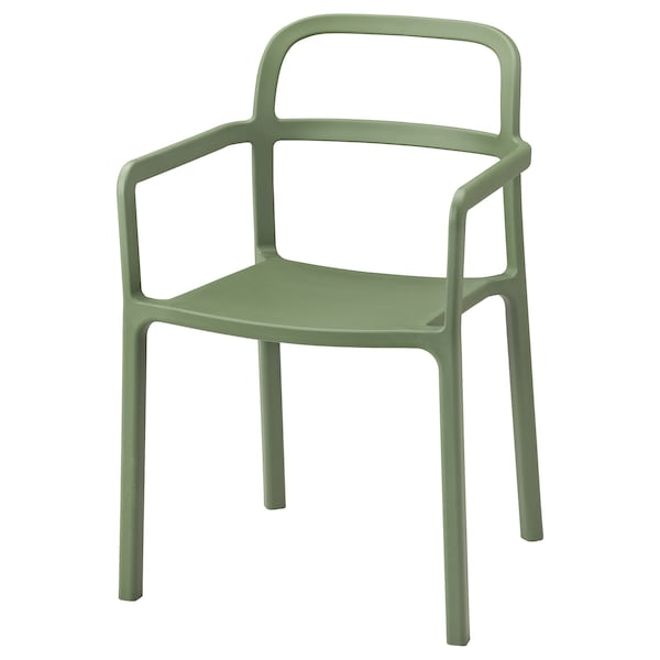 YPPERLIG Chair with armrests, in/outdoor, green