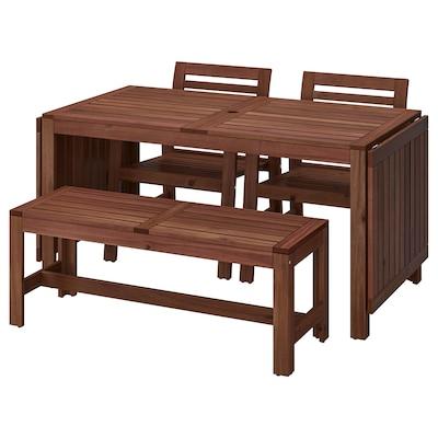 ÄPPLARÖ Meja + 2 kerusi, di luar bangunan coklat berwarna