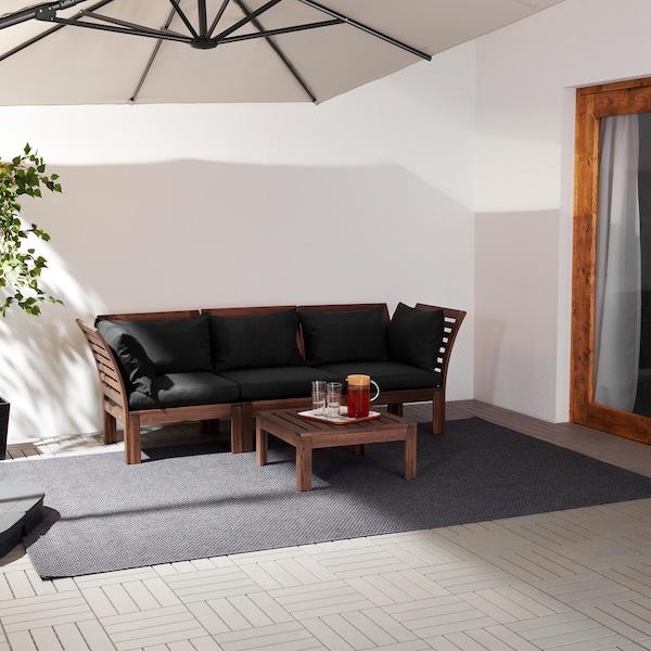 ÄPPLARÖ Sofa modular 3 tempat duduk, luar, coklat berwarna/Hållö hitam, 223x80x78 cm