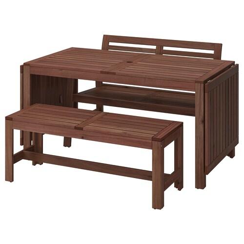 ÄPPLARÖ meja + 2 bangku panjang, luar coklat berwarna