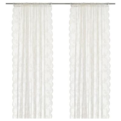 ALVINE SPETS Langsir jaring, 1 pasang, putih pudar, 145x250 cm