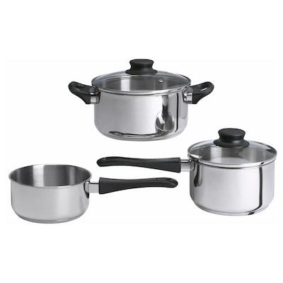 ANNONS Set 5 unit peralatan memasak, kaca/keluli tahan karat