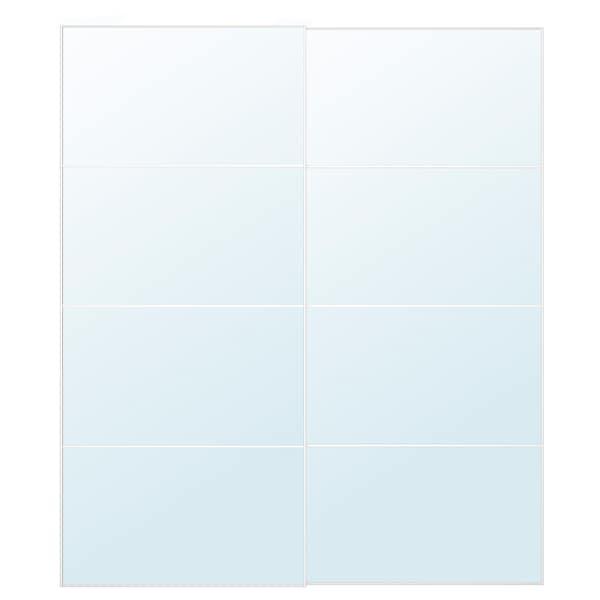 AULI Sepasang pintu gelangsar, kaca cermin, 200x236 cm