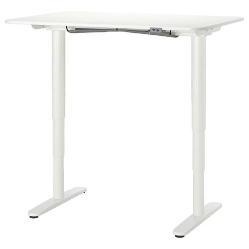 BEKANT meja duduk/berdiri putih 120 cm 80 cm 65 cm 125 cm 70 kg