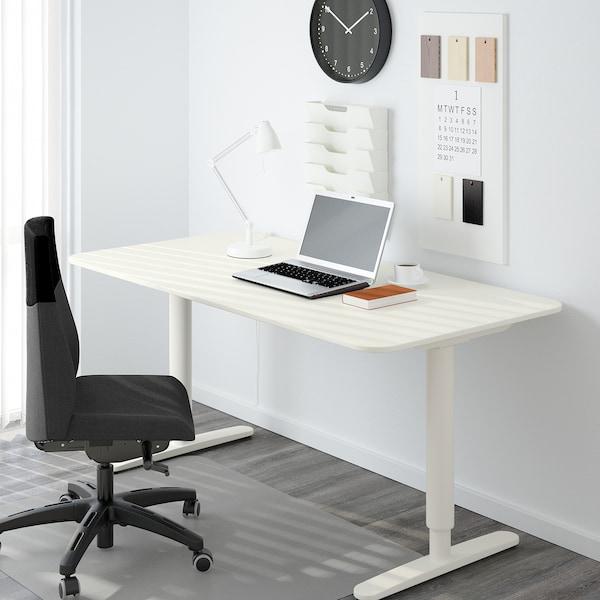 BEKANT Meja duduk/berdiri, putih, 160x80 cm