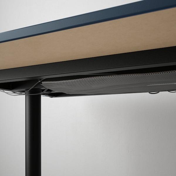 BEKANT Meja, linoleum biru/hitam, 160x80 cm