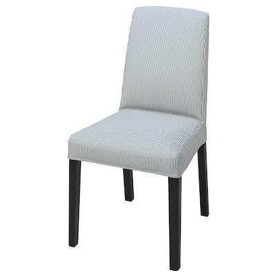 BERGMUND Sarung kerusi, Rommele biru gelap/putih