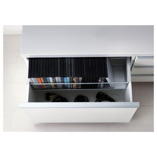 BESTÅ BURS Rak TV, berkilat putih, 180x41x49 cm