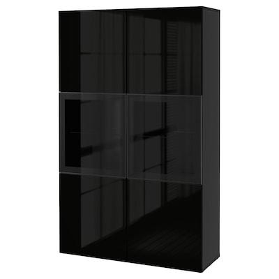 BESTÅ Komb storan dgn pintu kaca, hitam coklat/Selsviken berkilat/kaca jernih hitam, 120x42x193 cm