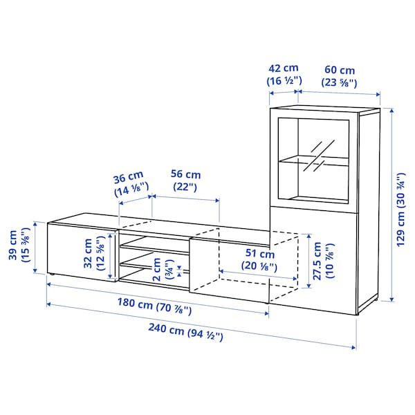 BESTÅ Kombinasi storan TV/pintu kaca, putih/Selsviken kc jrnh kng/brklt, 240x42x129 cm