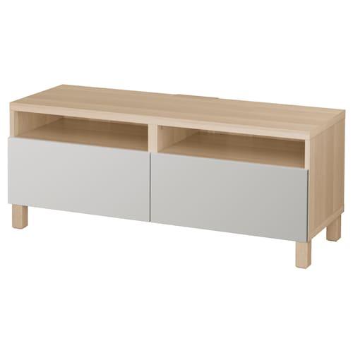 BESTÅ Rak TV berlaci kesan kayu oak berwarna putih/Lappviken/Stubbarp kelabu muda 120 cm 42 cm 48 cm 50 kg