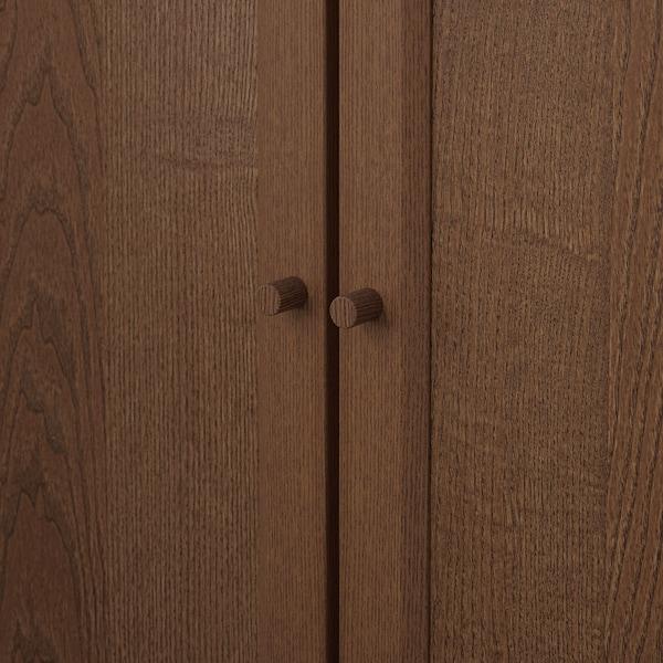 BILLY / OXBERG Rak buku berpintu, coklat venir kayu ash, 80x30x202 cm