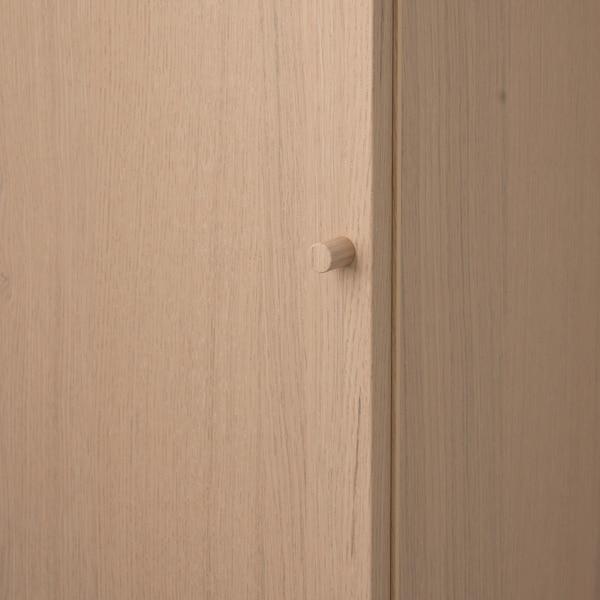 BILLY / OXBERG Rak buku dengan pintu, Venir kayu oak berwarna putih, 40x30x106 cm