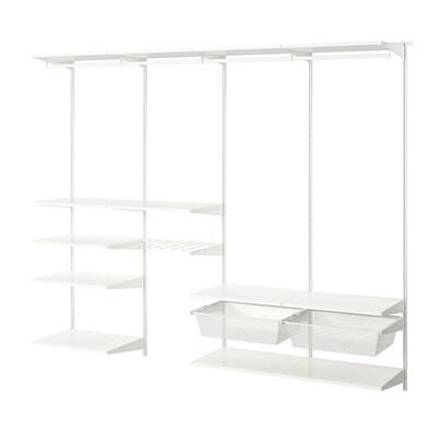 BOAXEL Kombinasi almari pakaian, putih, 250x40x201 cm