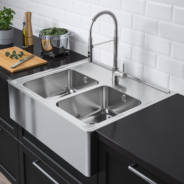 BREDSJÖN Mangkuk sink, 2 mangkuk, keluli tahan karat, 80x69 cm