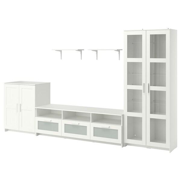 BRIMNES / BURHULT Kombinasi storan TV, putih, 338x41x190 cm