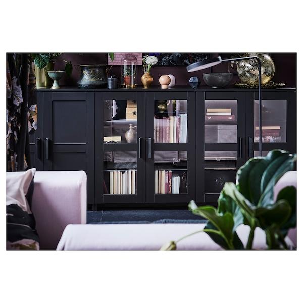 BRIMNES Kabinet berpintu, hitam, 78x95 cm