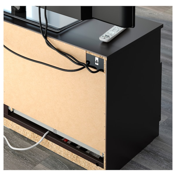 BRIMNES Kombinasi storan TV, hitam, 200x41x95 cm
