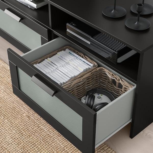 BRIMNES Kombinasi storan TV/pintu kaca, hitam, 276x41x95 cm
