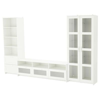 BRIMNES Kombinasi storan TV/pintu kaca, putih, 320x41x190 cm