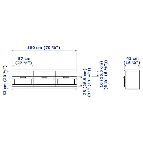 BRIMNES Rak TV, putih, 180x41x53 cm