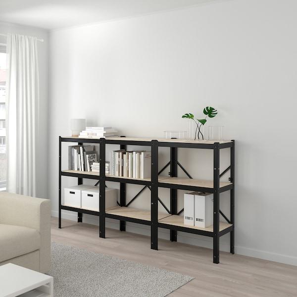 BROR 3 bahagian/para, hitam/kayu, 194x40x110 cm