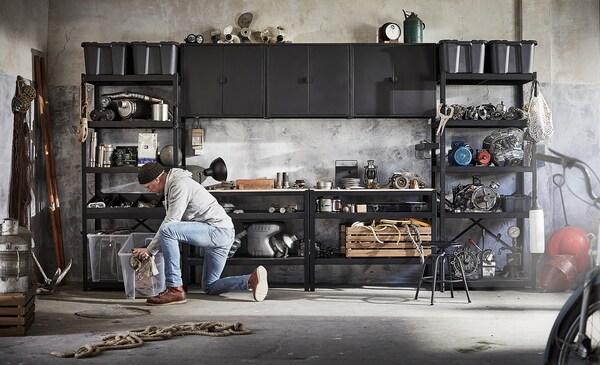 BROR Bangku kerja, hitam/papan lapis kayu pain, 110x55 cm